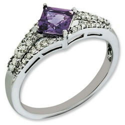 Amethyst & Diamond Princess Ring 925 Sterling Silver 5x5mm 2.14gr 0.55ct