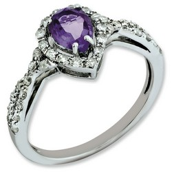Amethyst & Diamond Pear Ring 925 Sterling Silver 8x7mm 1.94gr 0.6ct