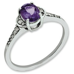 Amethyst & Diamond Oval Ring 925 Sterling Silver 6x8mm 1.75gr 0.75ct