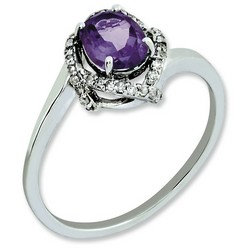 Amethyst & Diamond Oval Ring 925 Sterling Silver 9x8mm 1.96gr 0.75ct