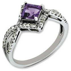 Amethyst & Diamond Princess Ring 925 Sterling Silver 6x6mm 1.87gr 0.55ct