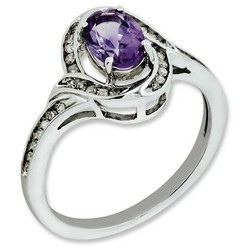 Amethyst & Diamond Oval Ring 925 Sterling Silver 9x9mm 2.5gr 0.75ct