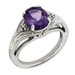 Amethyst & Diamond Oval Ring 925 Sterling Silver 9x9mm 4.5gr 2.4ct