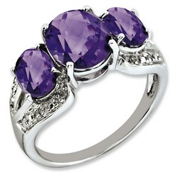 Amethyst & Diamond Oval Ring 925 Sterling Silver 7x17mm 3gr 3.7ct