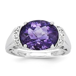Amethyst & Diamond Oval Ring 925 Sterling Silver 9x15mm 4.09gr 4.55ct