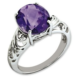 Amethyst & Diamond Oval Ring 925 Sterling Silver 10x12mm 2.9gr 4.55ct