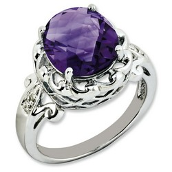 Amethyst & Diamond Oval Ring 925 Sterling Silver 13x12mm 3.5gr 4.55ct