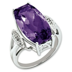 Amethyst & Diamond Large Ring 925 Sterling Silver 16x10mm 3.25gr 14ct
