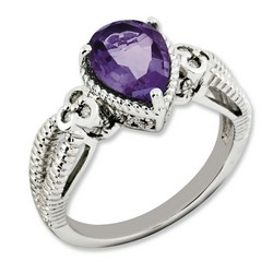 Amethyst & Diamond Pear Ring 925 Sterling Silver 9x7mm 3.9gr 1.65ct