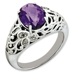 Amethyst & Diamond Oval Ring 925 Sterling Silver 8x8mm 4.75gr 2.4ct