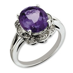 Amethyst & Diamond Oval Ring 925 Sterling Silver 12x12mm 4.07gr 4.25ct