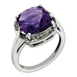 Amethyst & Diamond Gemstone Ring 925 Sterling Silver 14x13mm 3.97gr 5ct
