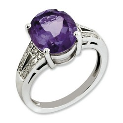 Amethyst & Diamond Oval Ring 925 Sterling Silver 9x9mm 3.68gr 4.25ct