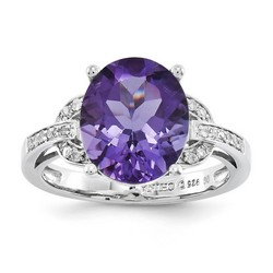 Amethyst & Diamond Oval Ring 925 Sterling Silver 9x9mm 3.41gr 4.25ct