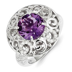 Amethyst & Diamond Large Ring 925 Sterling Silver 20x18mm 6.5gr 3ct