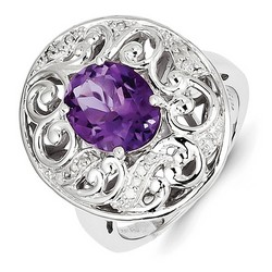 Amethyst & Diamond Filigree Ring 925 Silver 18x18mm 6.84gr 2.18ct