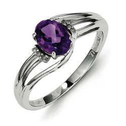 Amethyst & Diamond Oval Ring 925 Sterling Silver 7x6mm 1.86gr 0.66ct