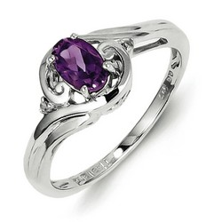 Amethyst & Diamond Oval Ring 925 Sterling Silver 8x6mm 2.29gr 0.44ct