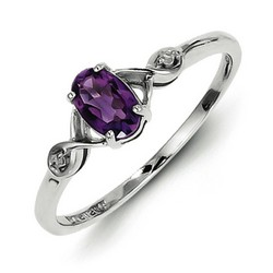 Amethyst & Diamond Oval Ring 925 Sterling Silver 6x12mm 1.25gr 0.35ct