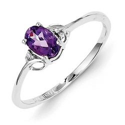 Amethyst & Diamond Oval Ring 925 Sterling Silver 6x4mm 1gr 0.37ct