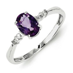 Amethyst & Diamond Oval Ring 925 Sterling Silver 7x5mm 1.37gr 0.57ct