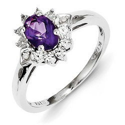 Amethyst & Diamond Mini Cocktail Ring 925 Silver 10x10mm 2.49gr 0.72ct
