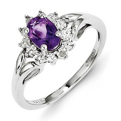 Amethyst & Diamond Mini Cocktail Ring 925 Silver 9x7mm 2.4gr 0.72ct
