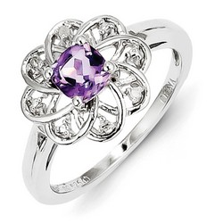 Amethyst & Diamond Flower Ring 925 Sterling Silver 11x11mm 2.52gr 0.57ct