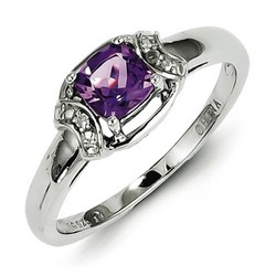 Amethyst & Diamond Oval Ring 925 Sterling Silver 5x8mm 2.5gr 0.54ct