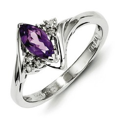 Amethyst & Diamond Marquise Ring 925 Sterling Silver 9x4mm 2.28gr 0.53ct