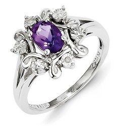 Amethyst & Diamond Oval Ring 925 Sterling Silver 13x12mm 3.18gr 0.71ct