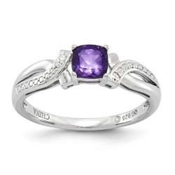 Amethyst & Diamond Oval Ring 925 Sterling Silver 4x6mm 2.02gr 0.54ct