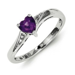 Amethyst & Diamond Heart Ring 925 Sterling Silver 5x5mm 1.89gr 0.42ct