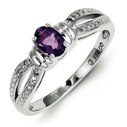 Amethyst & Diamond Oval Ring 925 Sterling Silver 5x3mm 2.2gr 0.37ct