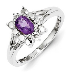 Amethyst & Diamond Oval Ring 925 Sterling Silver 9x7mm 3.05gr 0.5ct