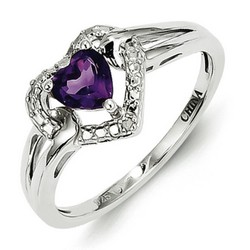 Amethyst & Diamond Heart Ring 925 Sterling Silver 8x8mm 2.29gr 0.46ct