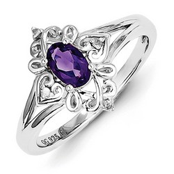 Amethyst & Diamond Oval Ring 925 Sterling Silver 10x10mm 2.5gr 0.38ct