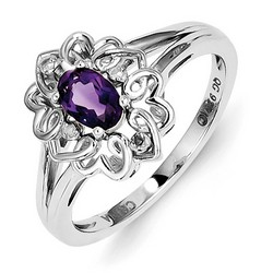 Amethyst & Diamond Oval Ring 925 Sterling Silver 11x9mm 2.58gr 0.39ct