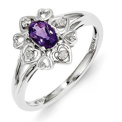Amethyst & Diamond Heart Ring 925 Sterling Silver 11x11mm 2.2gr 0.39ct