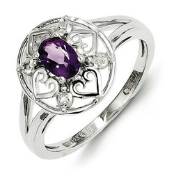 Amethyst & Diamond Heart Ring 925 Sterling Silver 11x11mm 2.5gr 0.4ct