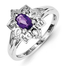 Amethyst & Diamond Heart Ring 925 Sterling Silver 11x11mm 2.55gr 0.42ct