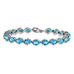 Blue Topaz Bracelet in 12.47 gr. 925 Sterling Silver 15.62 ct Gemstone