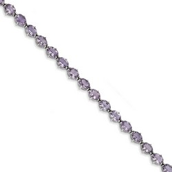 Amethyst Bracelet in 11.93 gr. 925 Sterling Silver 13.3 ct Gemstone