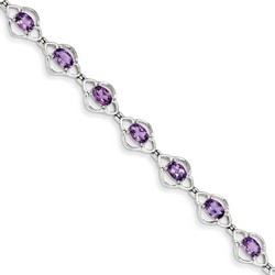 Amethyst Bracelet in 9.35 gr. 925 Sterling Silver 5.16 ct Gemstone
