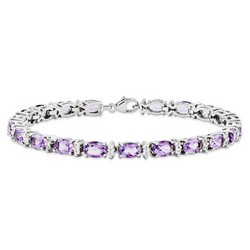 Amethyst & Topaz Bracelet in 11.68 gr. 925 Sterling Silver 9.44 ct Gemstone