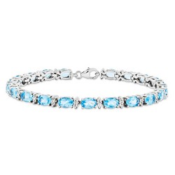 Blue Topaz Bracelet in 11.3 gr. 925 Sterling Silver 9.7 ct Gemstone