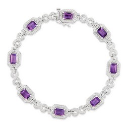 Amethyst & Diamond Bracelet in 10.76 gr. 925 Sterling Silver 4.52 ct Gemstone