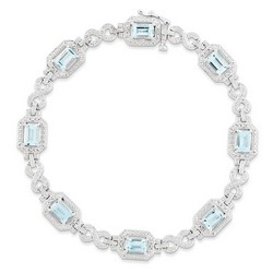 Blue Topaz & Diamond Bracelet in 10.76 gr. 925 Sterling Silver 4.52 ct Gemstone