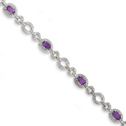 Amethyst & Diamond Bracelet in 9.1 gr. 925 Sterling Silver 4.96 ct Gemstone