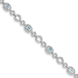 Blue Topaz & Diamond Bracelet in 9.1 gr. 925 Sterling Silver 4.96 ct Gemstone